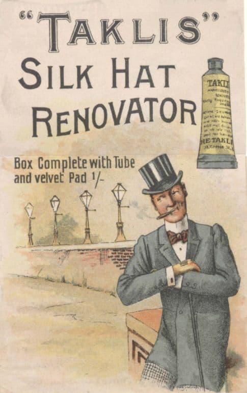 Antique Advertising 19th Century  Taklis Silk Hat Polish / Cleaner / Renovator